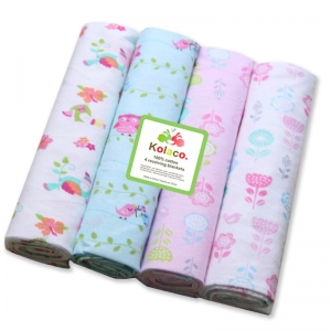 4 flannel blankets Infant Baby 100% Cott